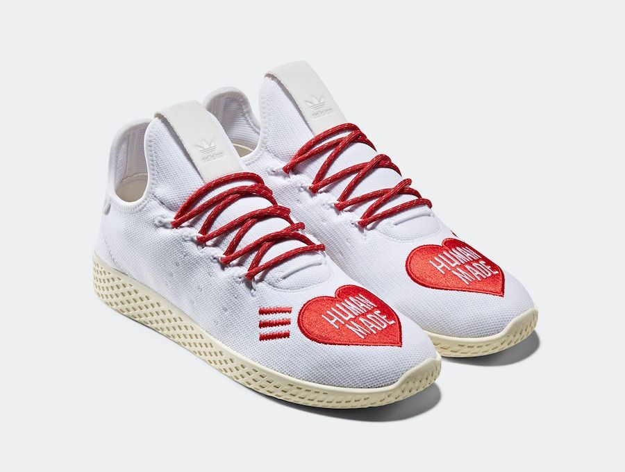 The Human Made X Adidas Tennis Hu Is Available Now For 130 00 With Free Shipping Adidas Tennis Pharrell Adidas Human Race