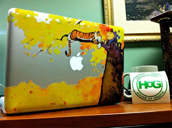 Calvin And Hobbes Custom MacBook Decals From House Of Grafix My - Custom vinyl decals for macbook pro