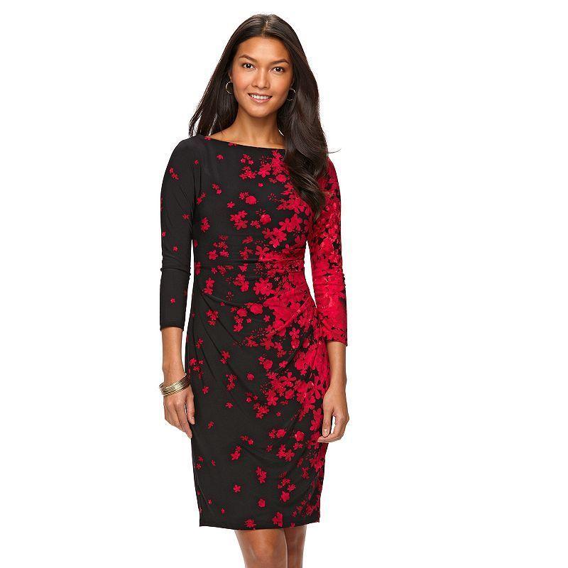Petite Chaps Pleated Sheath Dress, Women's, Size: Xl Petite, Black