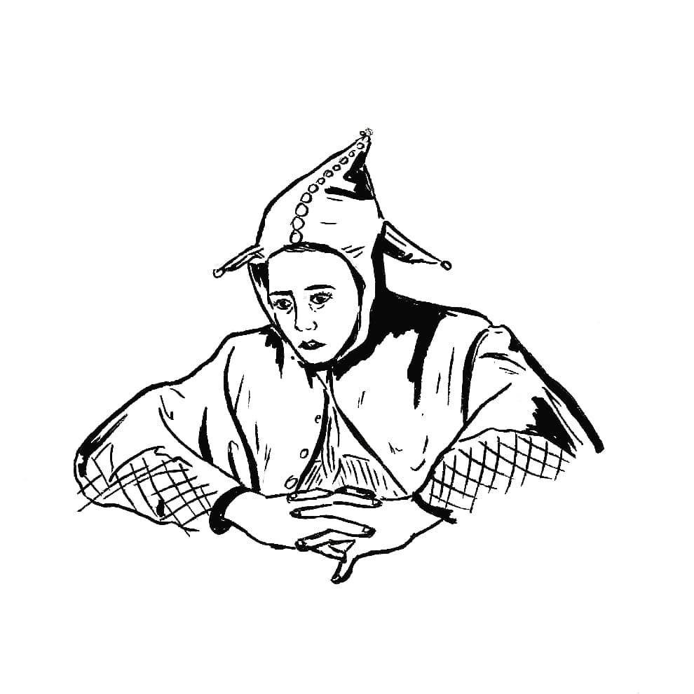Ris donc.  #instaart #instaartists #instaartwork #art #artists #artwork #darkart #dark #black #fool #ink #drawing #illustration #lineart #linework #woman #matejko #blackwork #blackworkers #illustrationoftheday #blackink #onlythedarkest #onlyblackart #jester #darkartists #blackndark #blackworkillustrations #blxckink #indianink