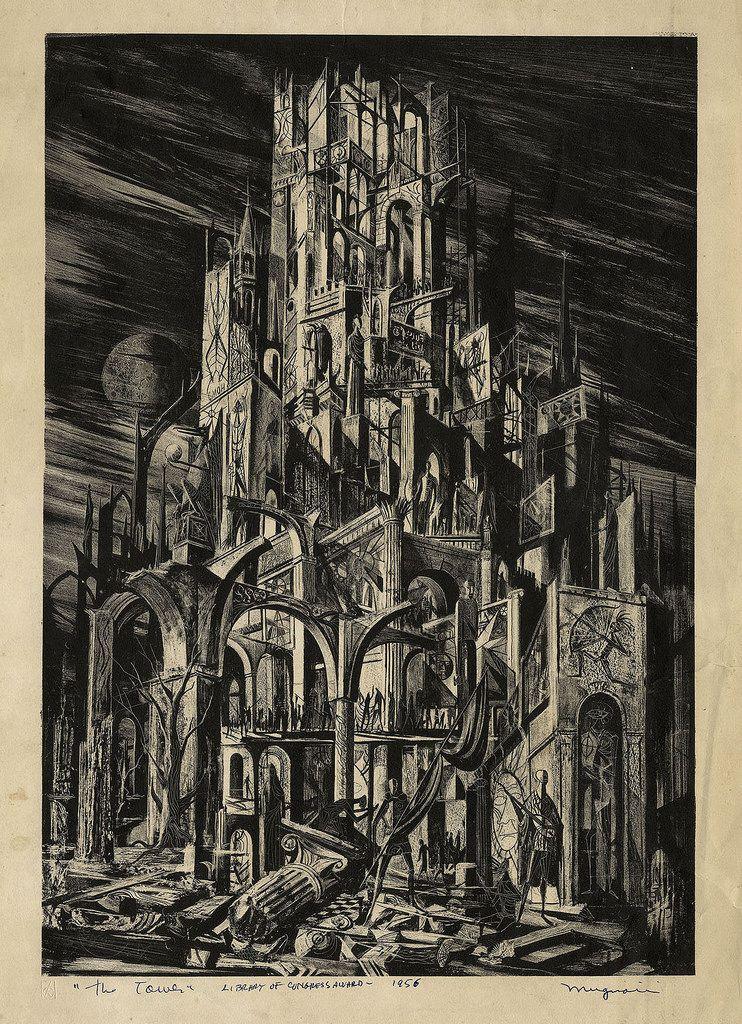 Joseph Mugnaini The Tower, 1956 Sf art, Illustration