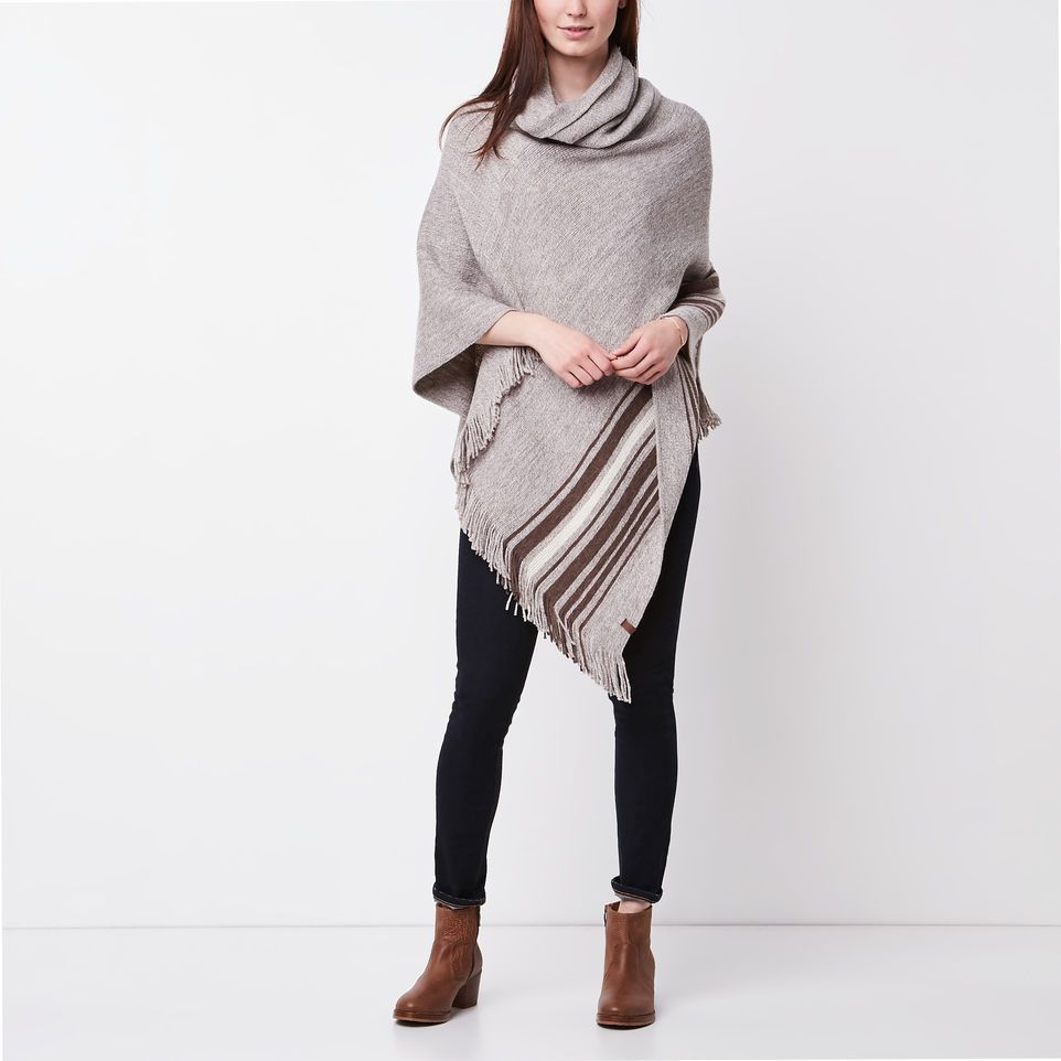 1e8bac37c Roots-Women Scarves & Wraps-Francis Poncho-Flaxseed Mix-A   Roots ...