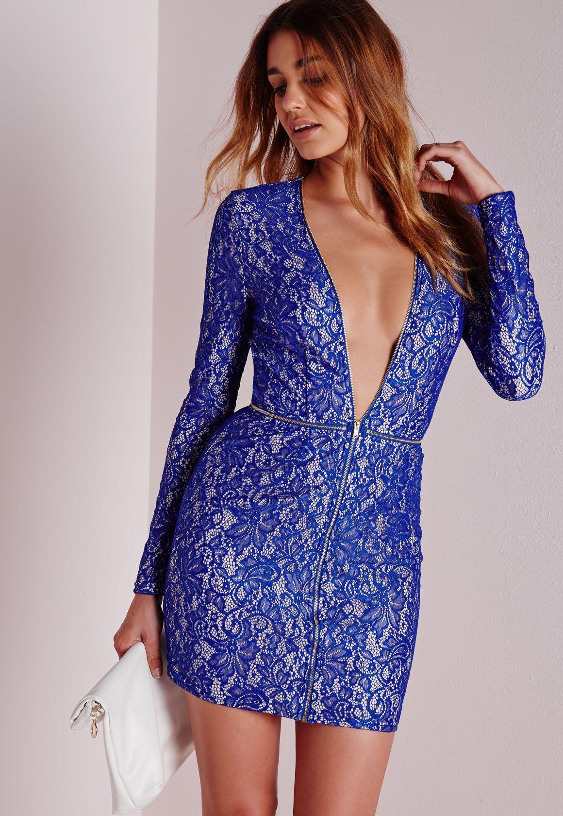 Lace Plunge Zip Detail Bodycon Dress Blue | Pinterest