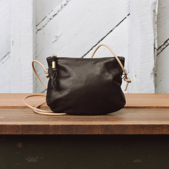 Leather Zip Crossbody Purse  The Luna Crossbody in Black leather by Awl Snap