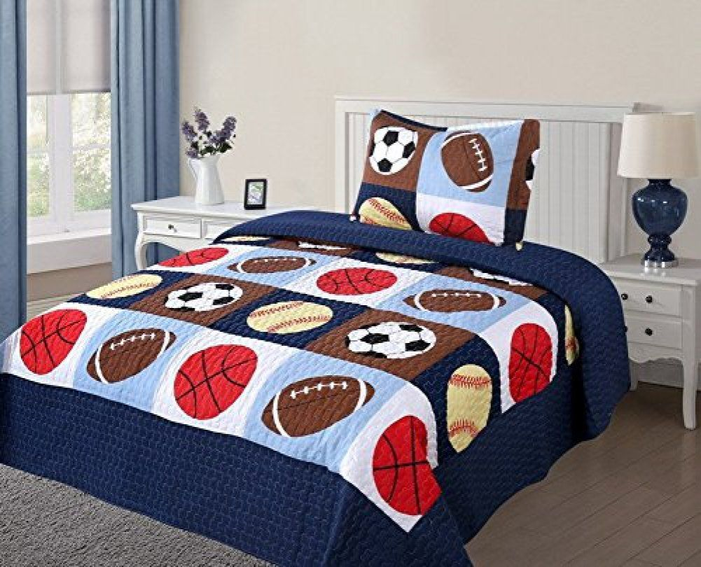 Golden Linens 3 Pieces Full Size Quilt Bedspread Set Kids Sports Basketball Football Baseball For Boys Girls Bed Spread X 1 Pillow Case Made Of