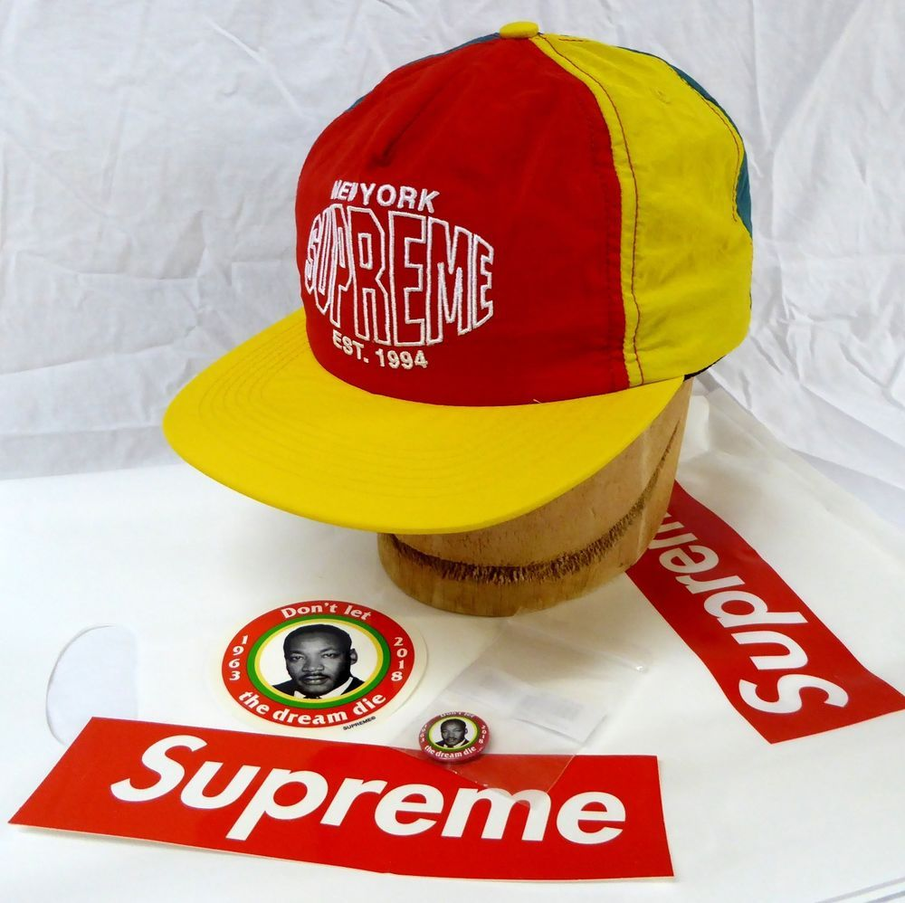 22fac77b05f Supreme New York Pinwheel 5 Panel Nylon Hat Cap New with Stickers and MLK  Pin  Supreme  5Panel