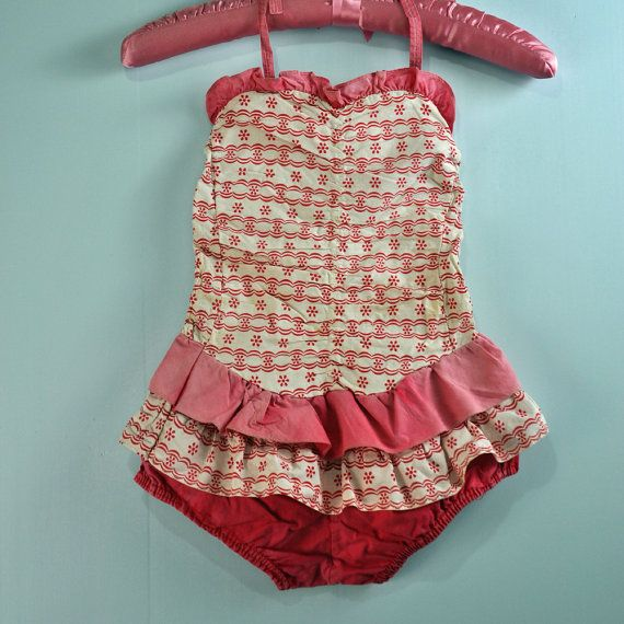 f92c7ddcdbe 1950s / 50s GIRLS SWIMSUIT - ruffled red and white print one piece ...