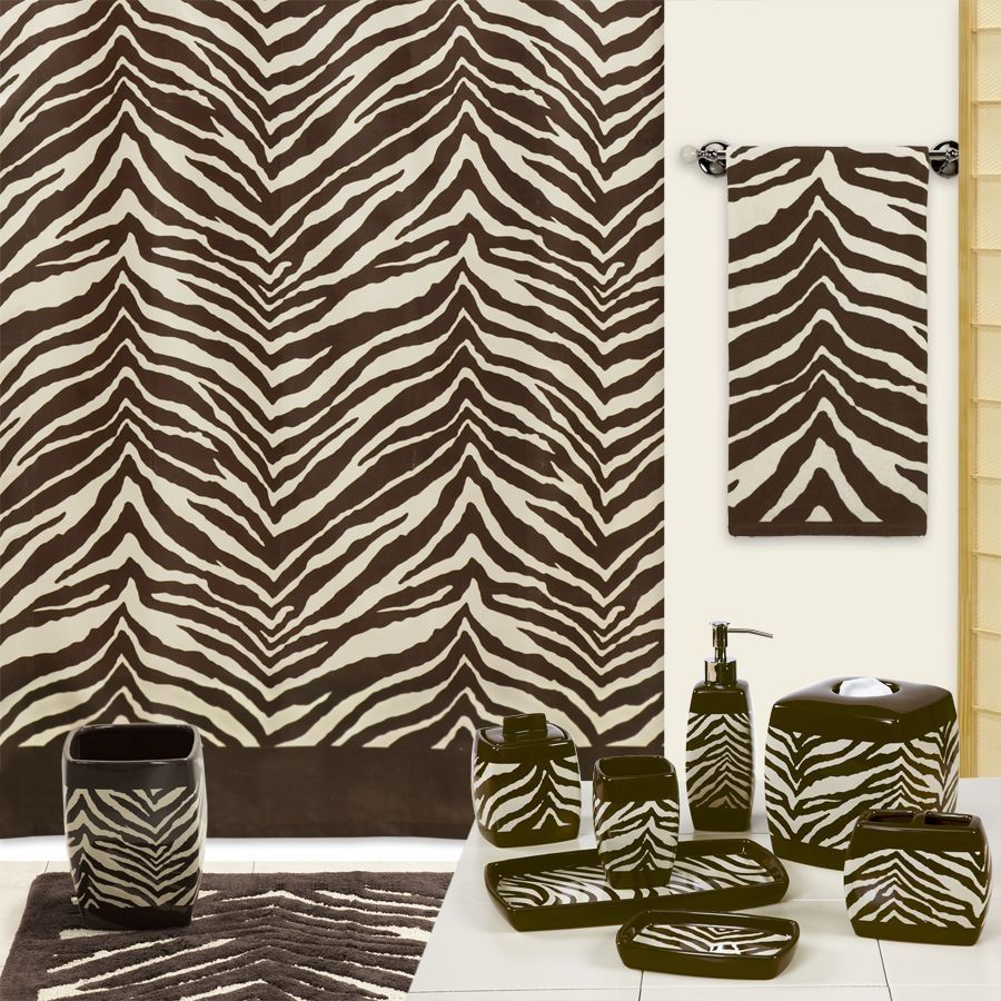 Brown Zebra Bathroom Set