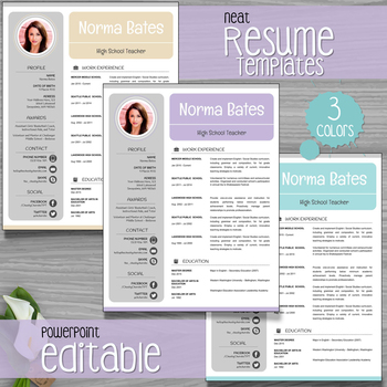 Neat Teacher Resume Template + Cover Letter + References - powerpoint resume
