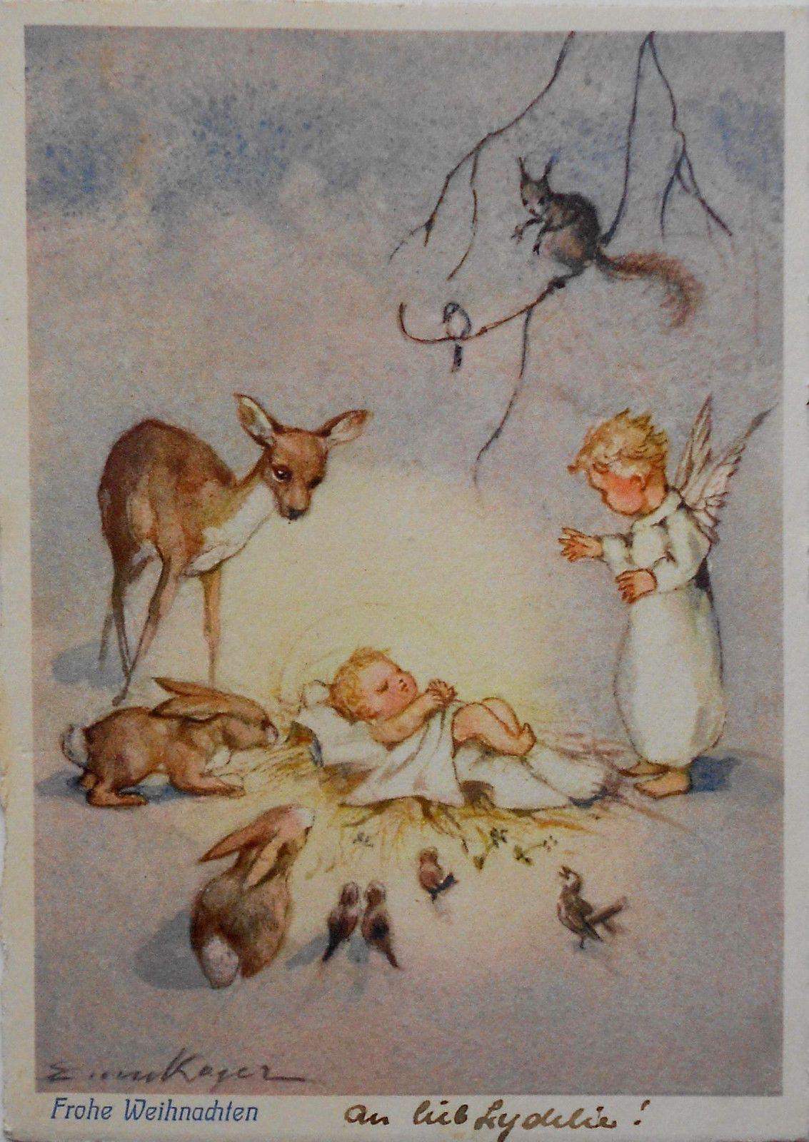 erica von kager engel hasen u reh betrachten schlafendes baby c1940 ebay weihnachts. Black Bedroom Furniture Sets. Home Design Ideas