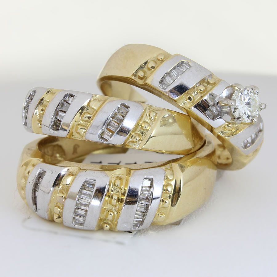 unique engagement wedding ring sets 25ct tcw wedding ring set in 18k two tone gold - Wedding Ring Trio Sets
