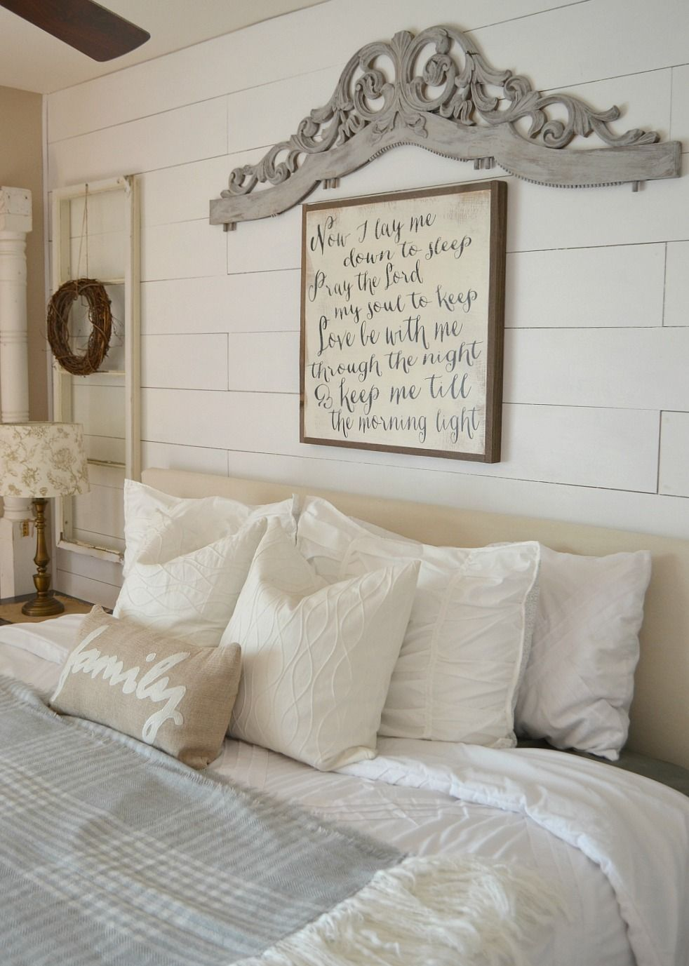 Dry brush painting technique on vintage headboard barn - Wall art above bed ...