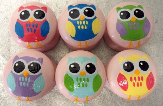 Six 35mm Hand Painted Owl Door Pulls / Drawer Knobs Childrens Cute ...