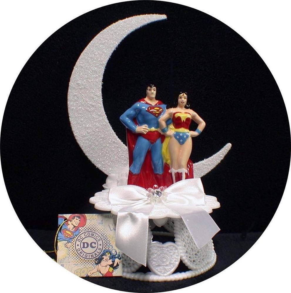 dc superman & wonderwomen wedding cake topper super hero