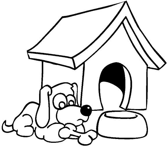 Dog and Dog House Coloring Page