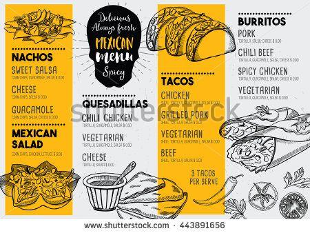 Mexican Menu Placemat Food Restaurant Menu Template Design Vintage Creative Dinner Brochure With Hand Dra Mexican Menu Menu Restaurant Restaurant Menu Design