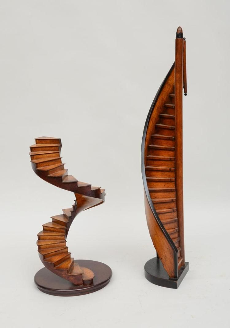 TWO WOODEN SPIRAL STAIRCASE MODELS