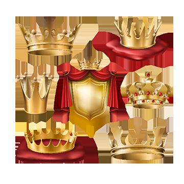 다양 한 종류의 로얄 골든 크라운의 벡터의 세트와, 황금, 관, 분리 PNG 및 벡터 에 대한 무료