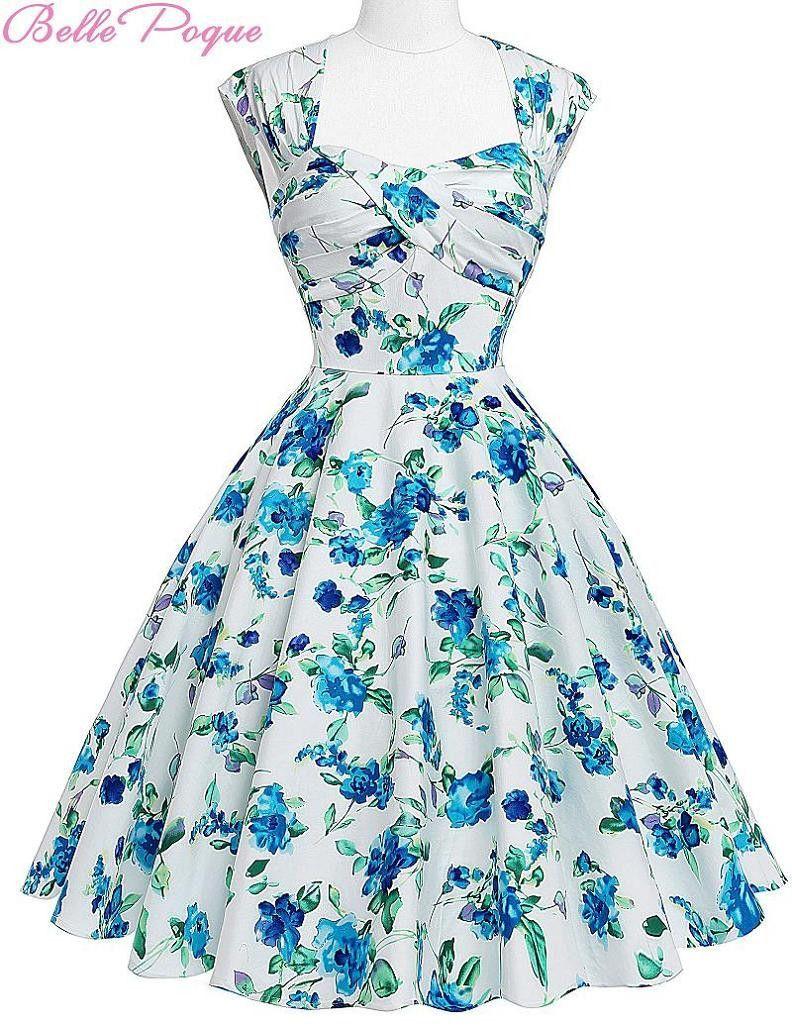 Women Summer Retro Vintage 50s Dresses Audrey Hepburn Elegant Floral ...