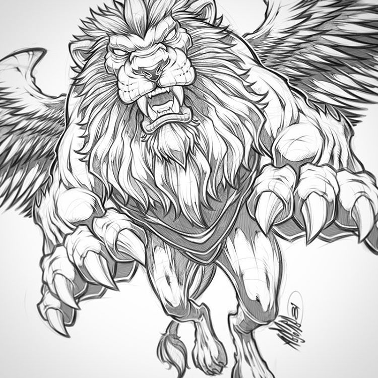 Winged lion pencils lion beast