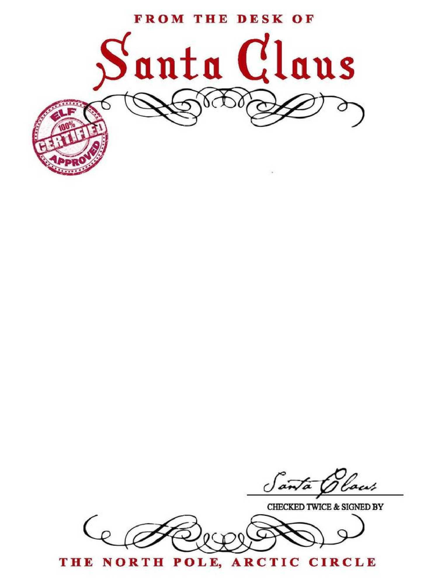 Free From Santa Letter With Santa Signature You can save