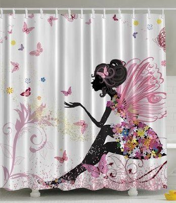 Pink Butterfly Girl With Floral Dress Flower Design Fairy Angel