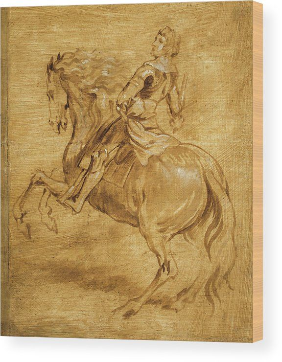 A man riding a horse Wood Print for sale. Artist: Anthony van Dyck ...