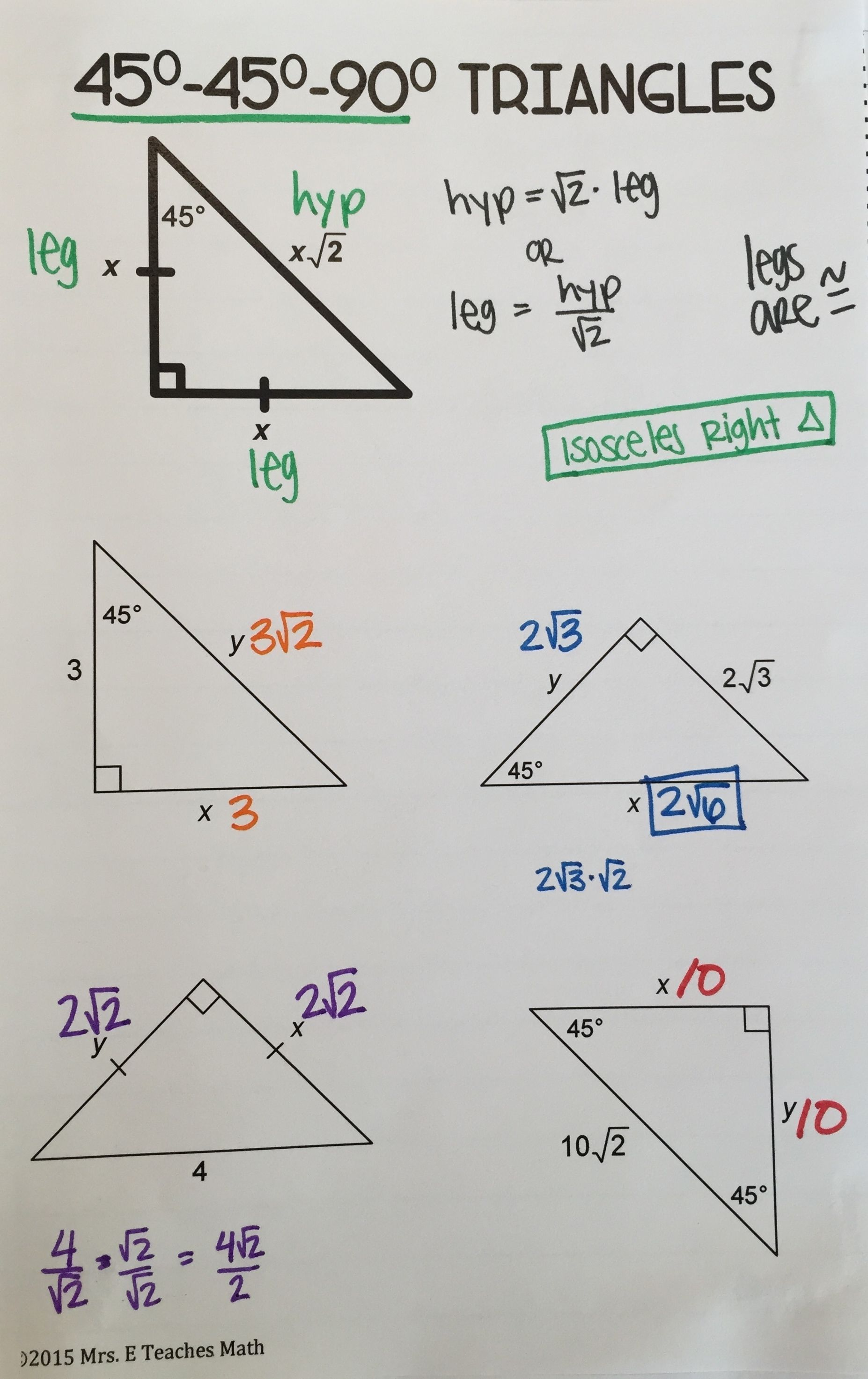Special Right Triangles Interactive Notebook Page Teaching