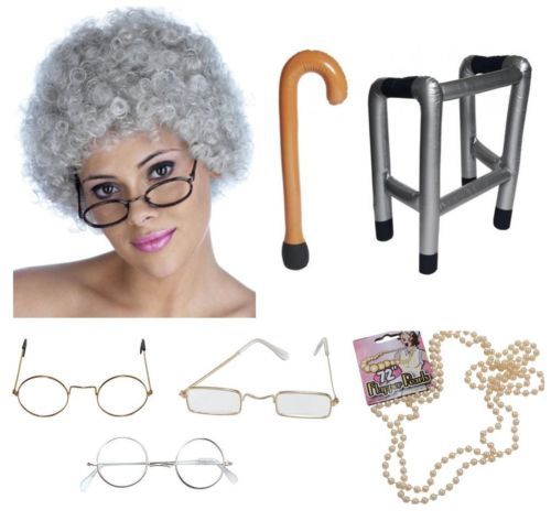 Granny Old Lady Woman Grandma Fancy Dress Costume Accessories  d08c9590be