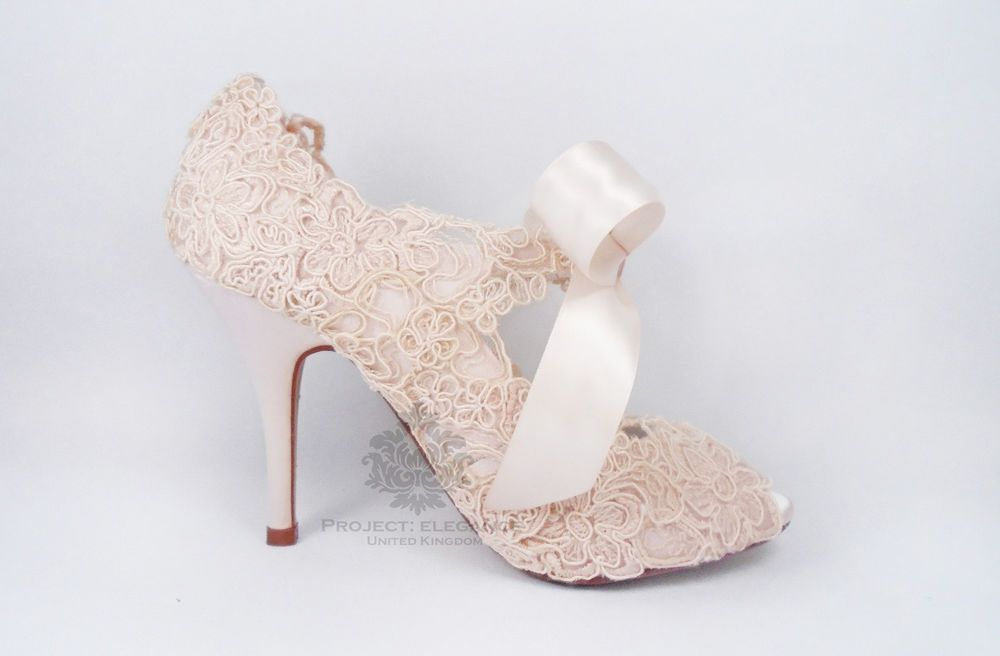 Womens Blush Pink Vintage Lace Crystal Peep Toe High Heel Shoes Bridal  Wedding