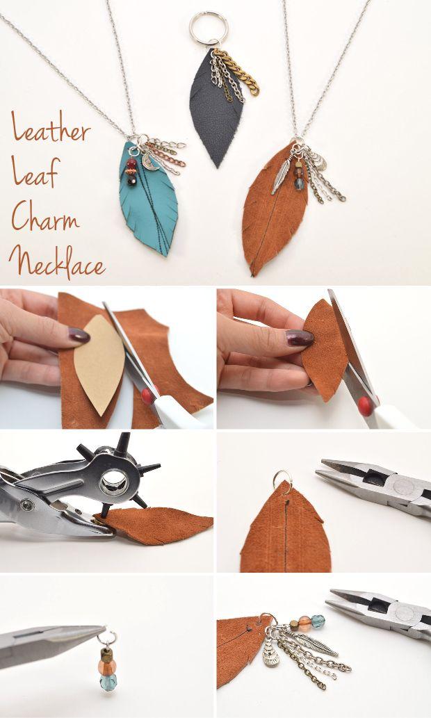 fall for diy leather leaf charm necklace leder schmuck. Black Bedroom Furniture Sets. Home Design Ideas