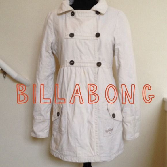 "Selling this ""Billabong white canvas coat, M"" in my Poshmark closet! My username is: kmadeoy. #shopmycloset #poshmark #fashion #shopping #style #forsale #Billabong #Outerwear"