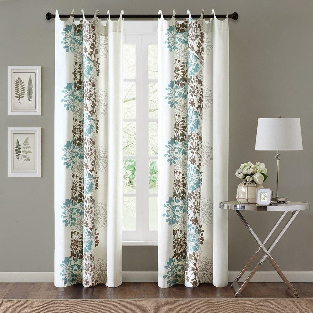 Girls Light Blue Floral Window Curtain 84 Inch Single Panel Chocolate Color Flowers Printed Hippy Bohemian