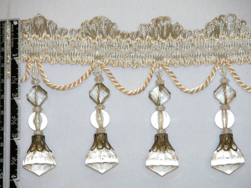 4 Exquisite Tassel Fringe Bead Trim Ivory Per Yard Beaded