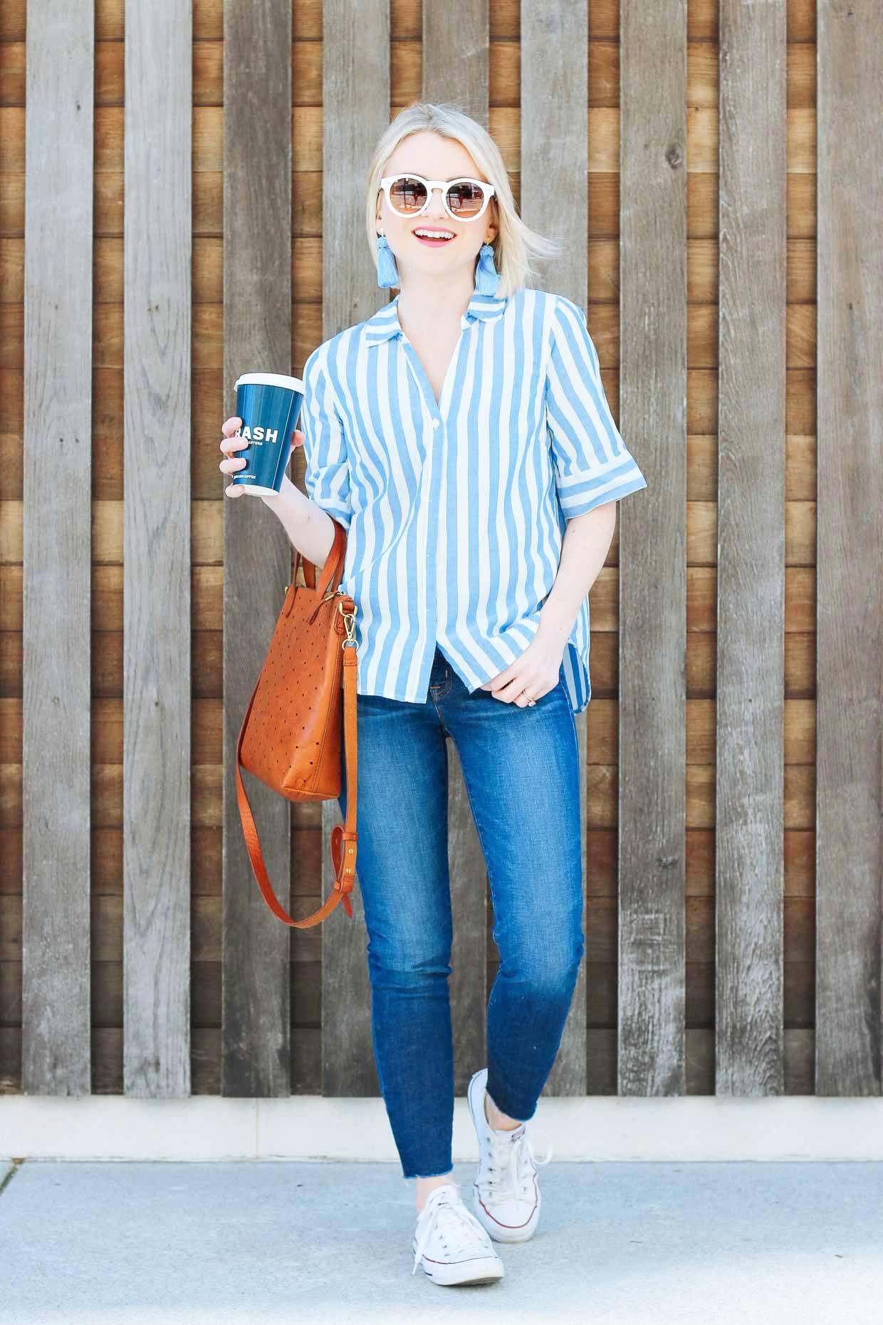 J Crew Blue Stripe Short Sleeve Button Up Shirt Fashion