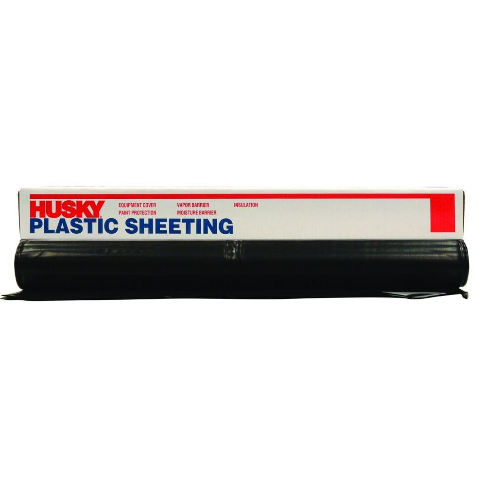 Husky 12 Ft X 50 Ft Black 4 Mil Plastic Sheeting Cf0412 50b Black Plastic Sheeting Plastic Sheets Plastic