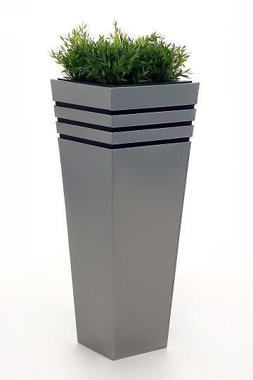 Einzel Zink Blumenkubel New Classic 80cm Silber