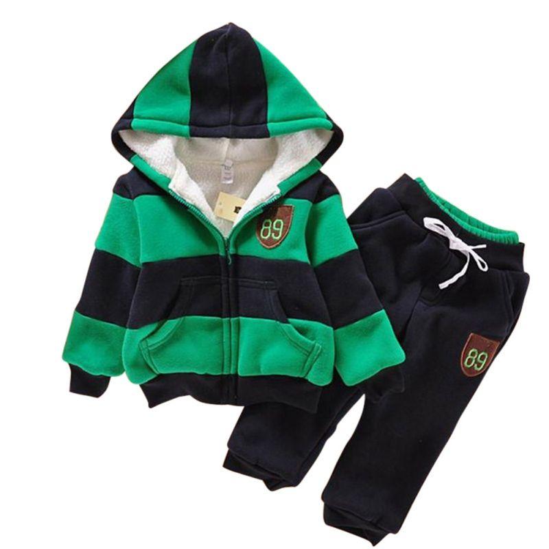 548f5435c05f New Infant Kids Clothes Sets 2 Pcs Warm Patchwork Hoodies Tops + ...