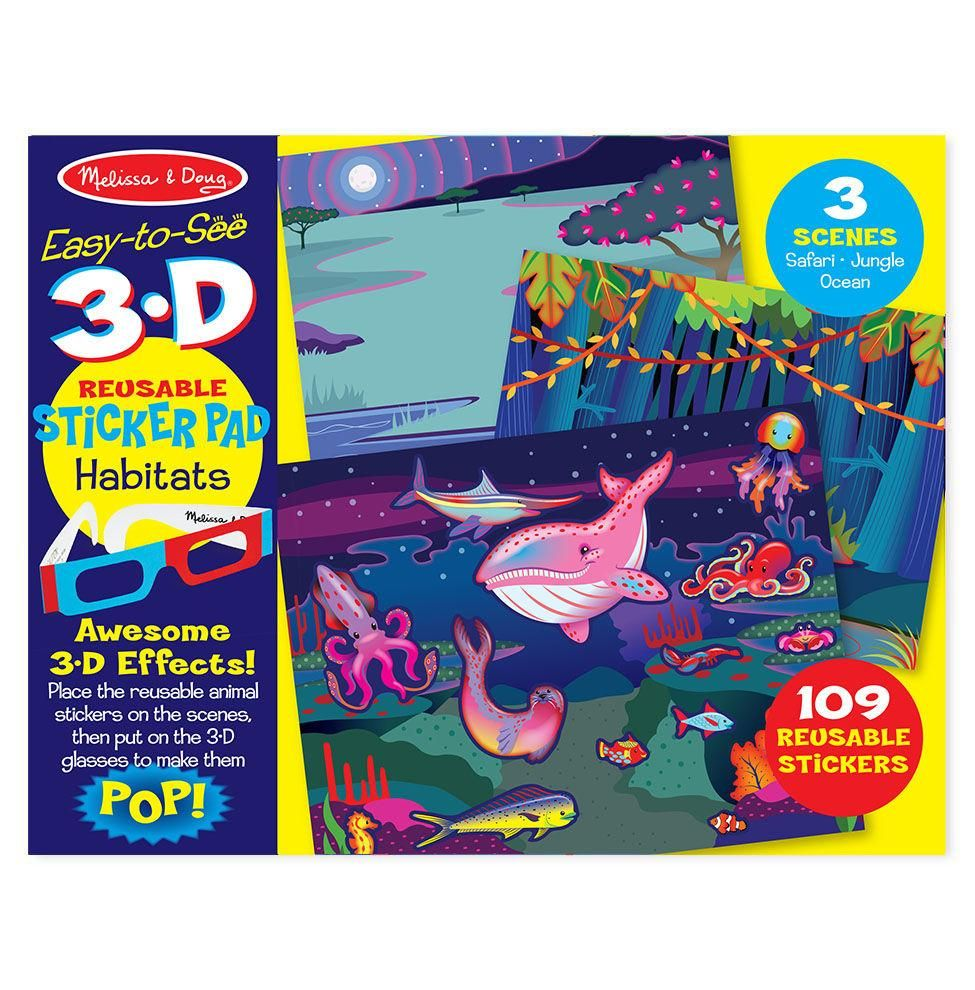 Easy To See 3 D Reusable Sticker Pad Habitats Products