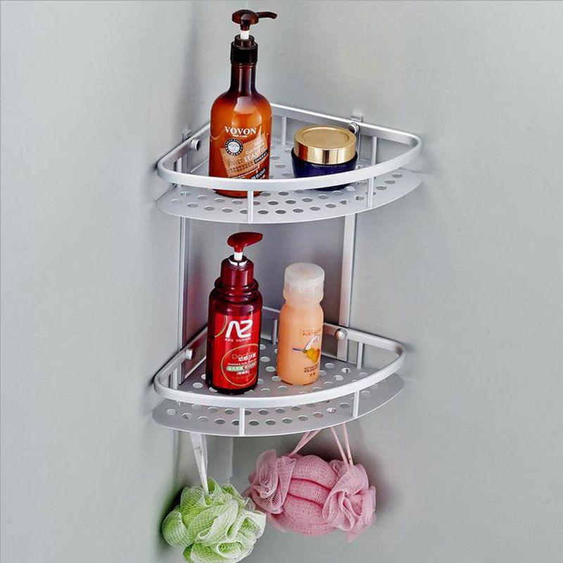Home Hook Shower Storage 2 Layer Bath Corner Shelf Wall Mounted