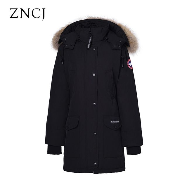 Cheapest $183.67, Buy ZNCJ Women Coat Military Long Thick Parka Waterproof Ladies Jacket Duck Down Filling Solid Fur Collar Unisex Winter Coat S-3XL