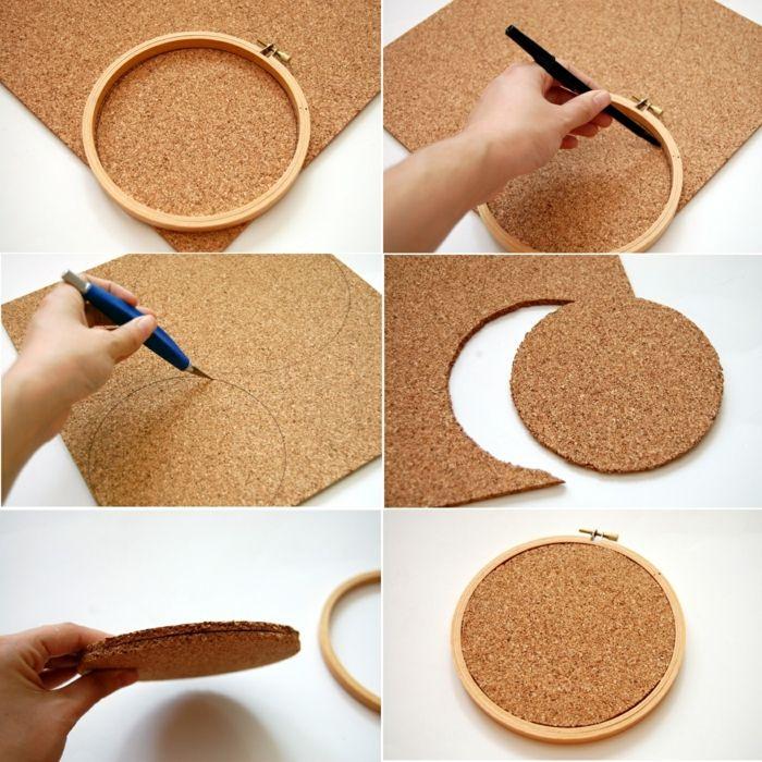 1001 ideen wie sie eine pinnwand selber machen pinnwand selber machen stickrahmen und. Black Bedroom Furniture Sets. Home Design Ideas