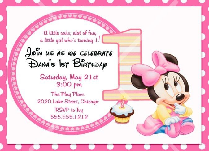 Baby Minnie Mouse Birthday Party Invitation 1st By Photodesignz