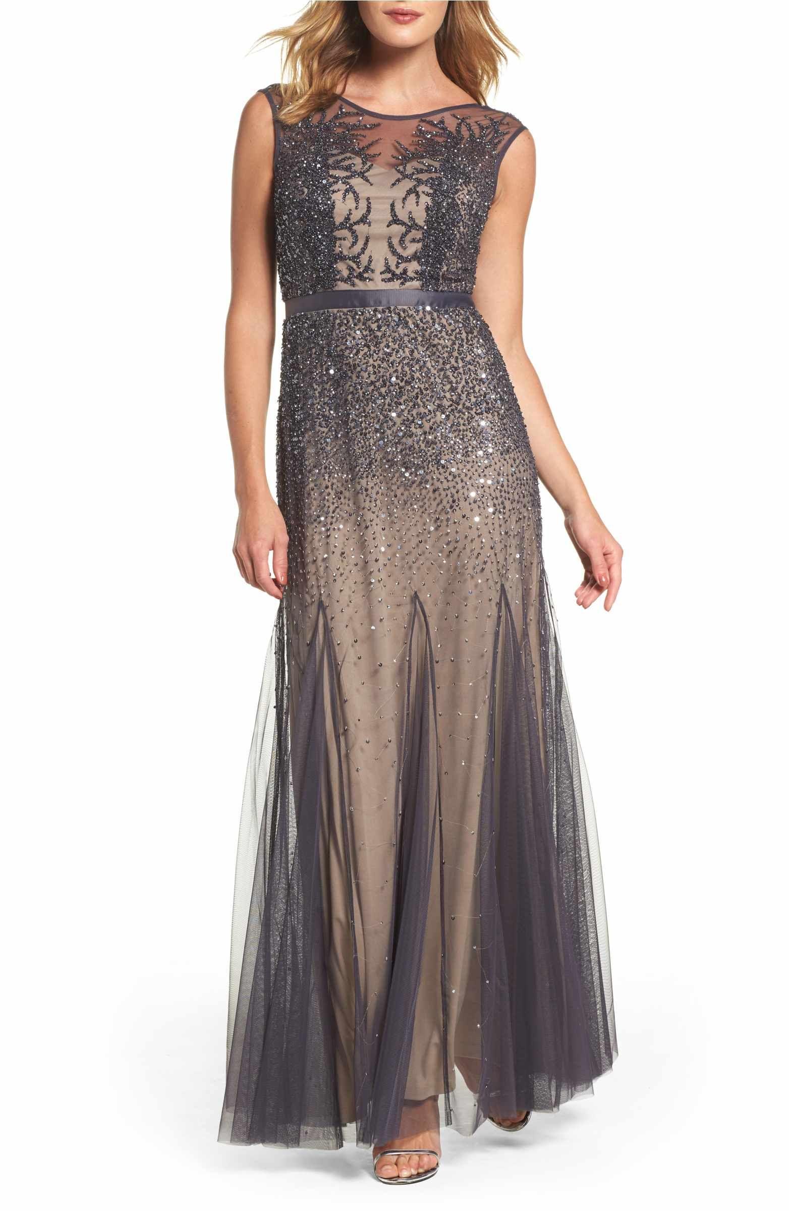 Main Image - Adrianna Papell Beaded Chiffon Gown (Regular & Petite ...