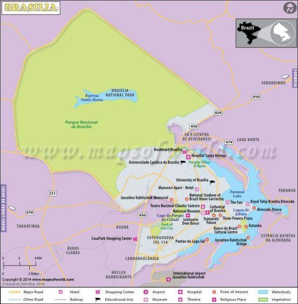 cool Brasilia Map, Capital of Brazil | Travelquaz | Pinterest ...