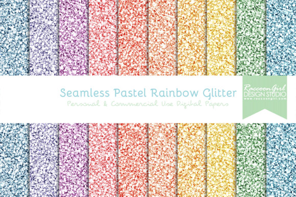 Check out Seamless Pastel Rainbow Glitter by RaccoonGirl Design on Creative Market