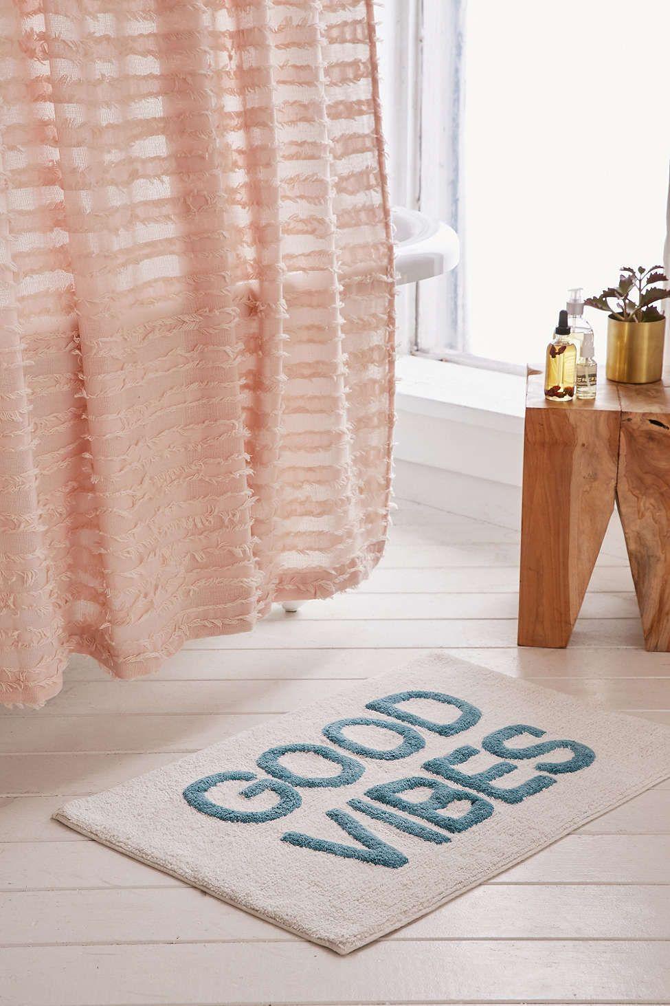 Good Vibes Tufted Bath Mat Bath Mat Turquoise Bathroom Rugs
