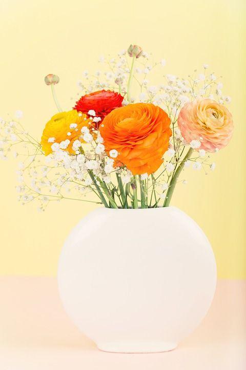 Kukat, Kukka Maljakko, Ranunculus, Kukkakimppu, Oranssi