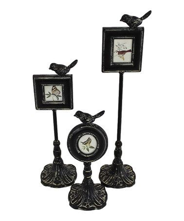 Take a look at this Black Sparrow Pedestal Frame Set by Vintage ...