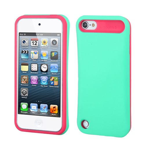 Turquoise Hot Pink Card Wallet Hard Soft Rubber Hybrid Case iPod Touch 5th Gen | eBay